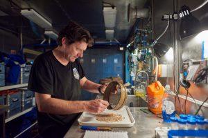 Scientist analyzing specimens in a lab