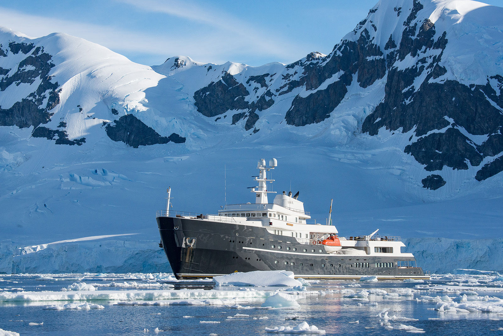 Yacht Legend in ice in Antarctica