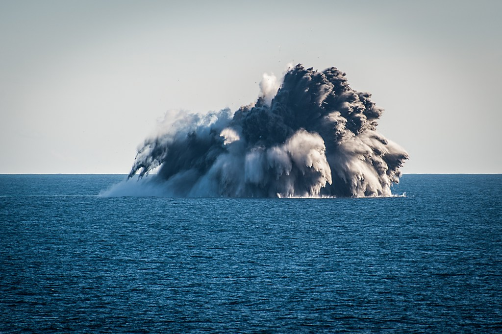 Kavachi Submarine Volcano in the Solomons erupting. As seen by an EYOS Expedition team member.