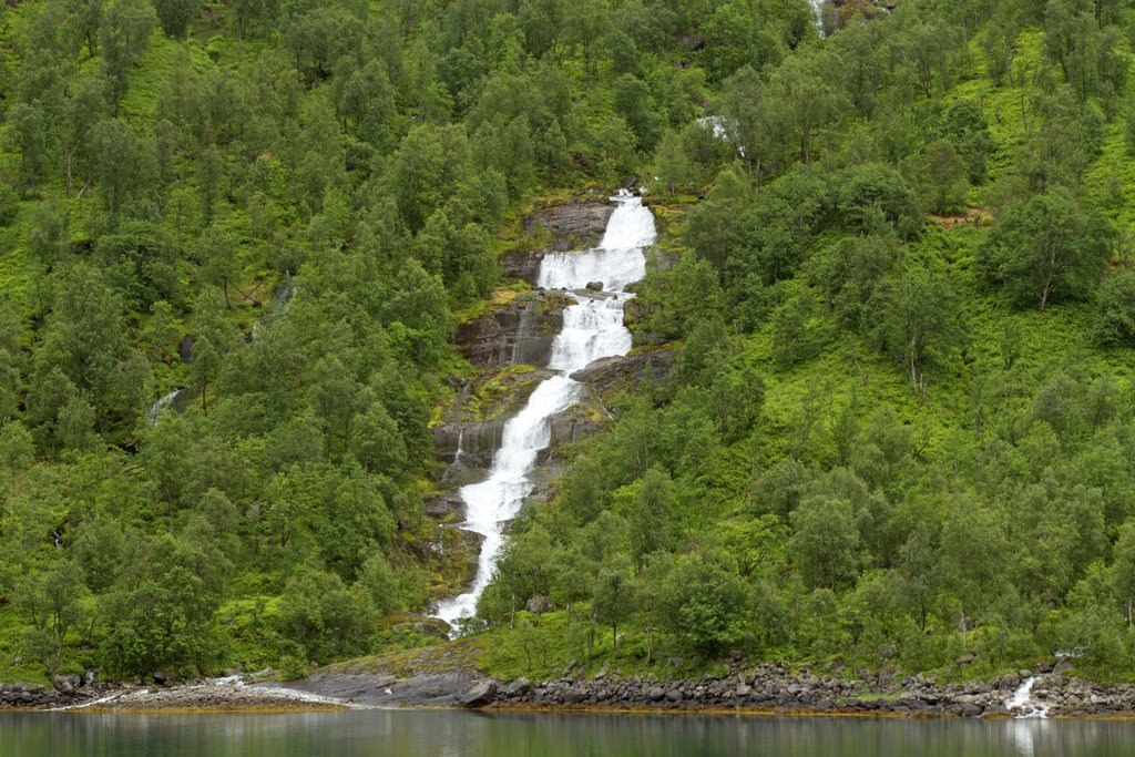 A waterfall in a Norwegian fjord