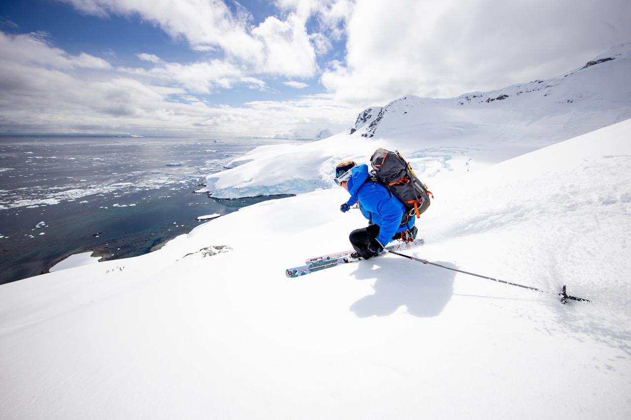 Skier skiing in Antarctica