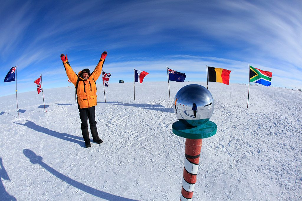 Mirror ball at South Pole Antarctica | EYOS Expeditions