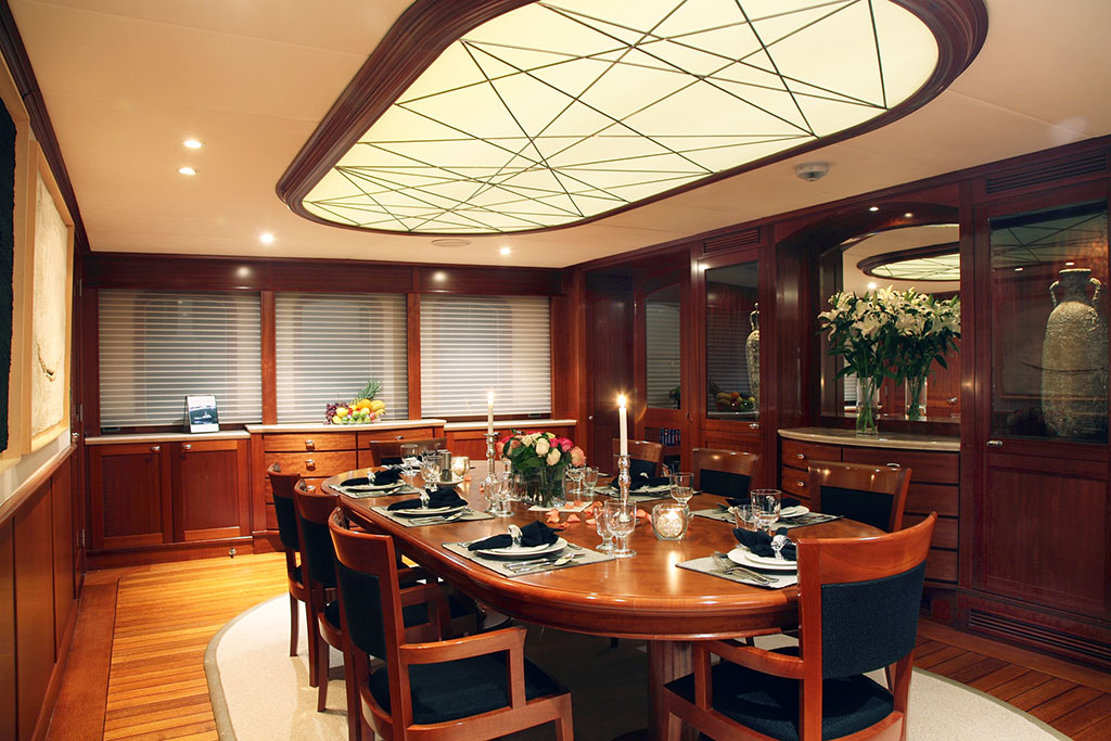 Asteria Luxury Expedition Yacht interior - the dining room