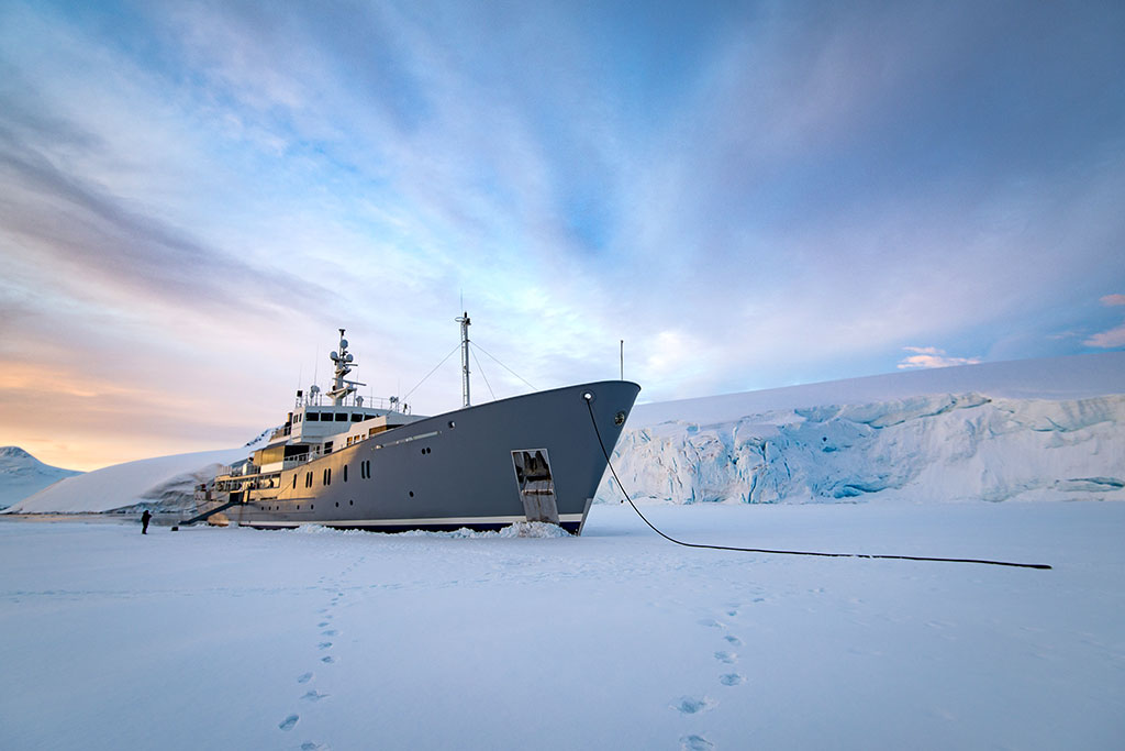 Enigma XK Expedition Yacht in ice