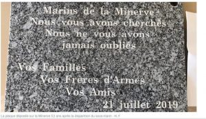 Plaque Commemorating loss of the Minerve