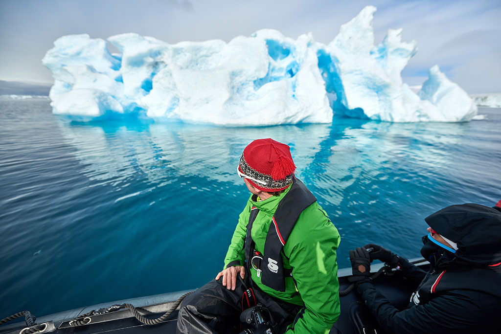See icebergs on a Zodiac cruise in Antarctica