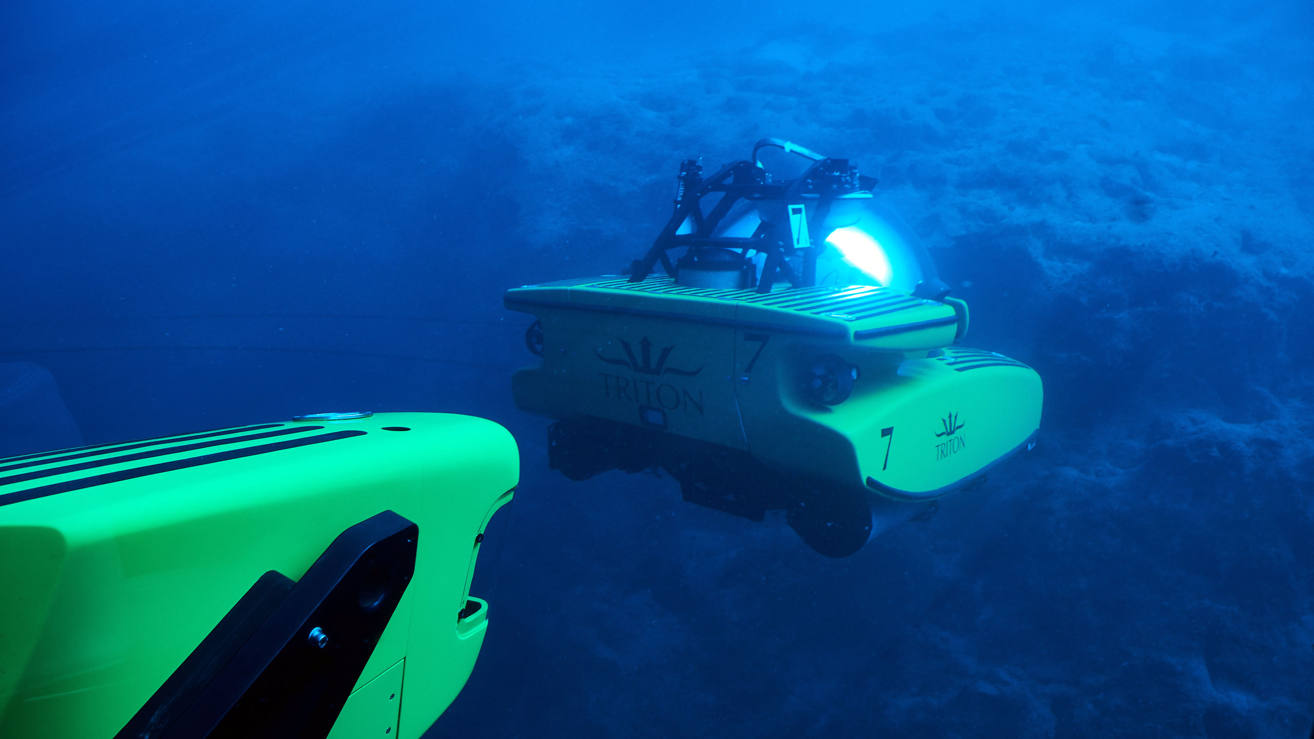 A pair of Triton submersibles on a dive