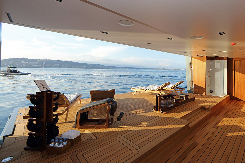 Planet Nine expedition yacht interior beach club