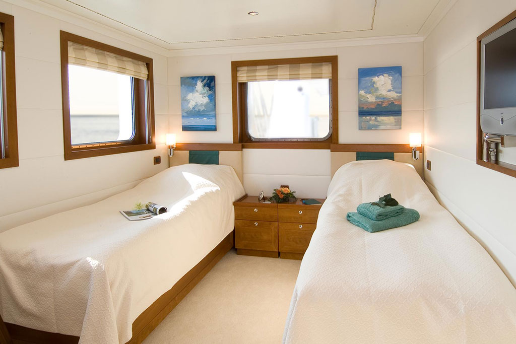 Guest bedroom on Hanse Explorer Luxury Expedition Yacht