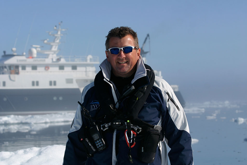 Rob McCallum, EYOS Expeditions Founding Partner, in Antarctica with Hanse Explorer