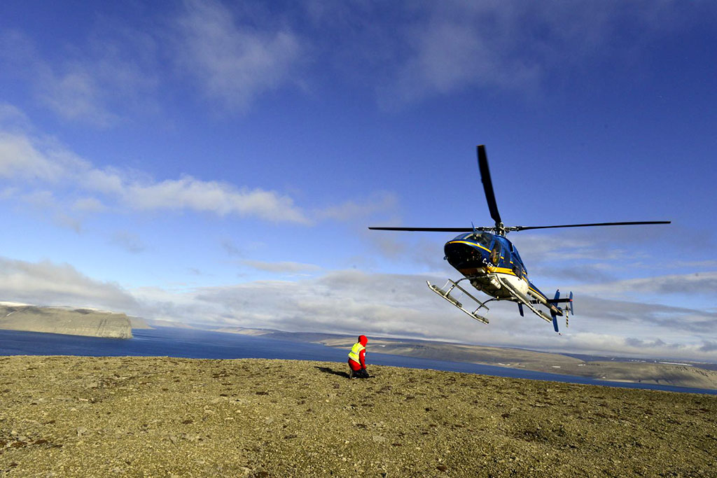 helicopter in Northwest Passage