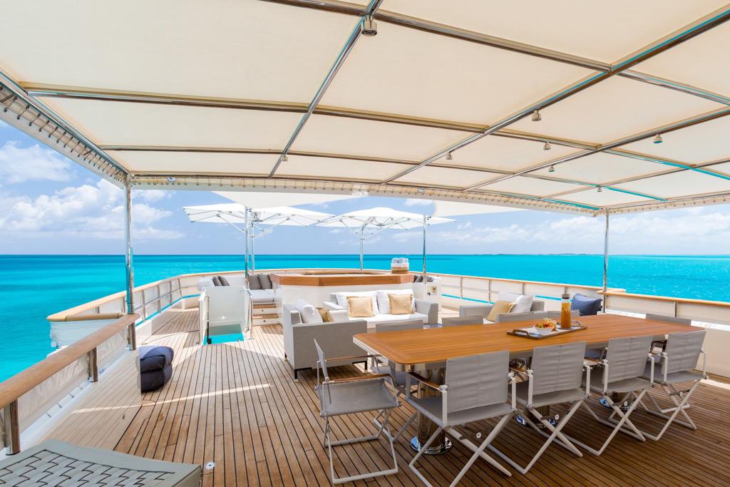Pioneer luxury yacht aft deck