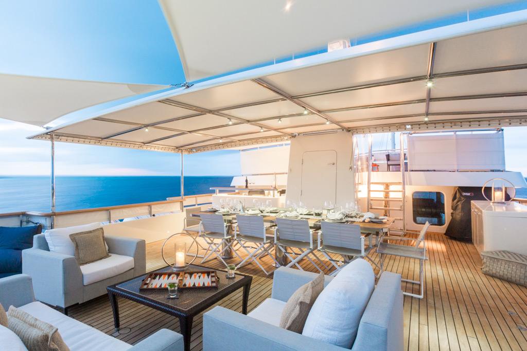 Pioneer luxury yacht deck