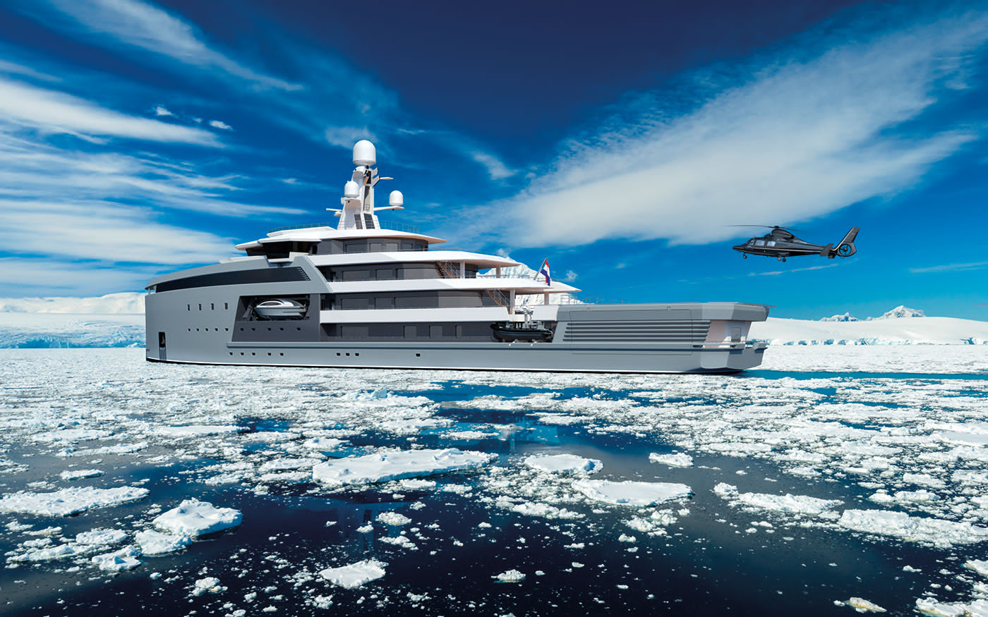 helicopter landing on SeaXplorer expedition superyacht in Antarctica