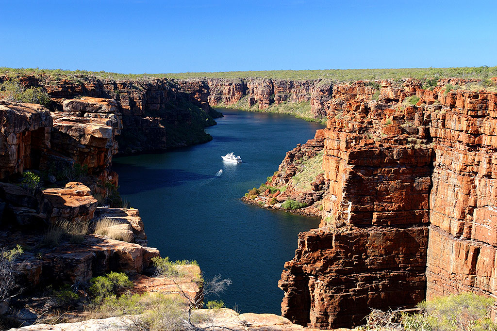 Yacht at King George Falls, The Kimberley, Australia