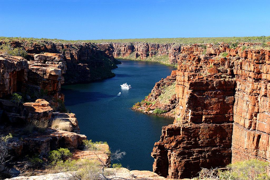 Yacht at King George Falls, The Kimberley, Australia